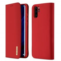 Huawei P30 Pro DUX DUCIS Wish elegáns oldalra nyíló valódi bőr telefontok, Piros