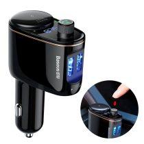 Baseus Locomotive Bluetooth FM Transmitter MP3 + autós töltő (2x USB 3.4A) - CCALL-RH01, Fekete