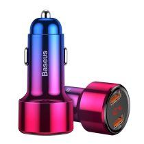 Baseus Magic Series Dual autós gyorstöltő LED kijelzővel (2x USB QC3.0 45W 6A) - CCMLC20A-09, Piros